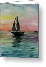 Sunset Boat 1 Greeting Card