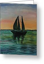 Sunset Boat 2 Greeting Card