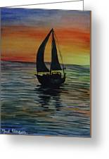 Sunset Boat 3 Greeting Card