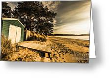 Sunset Boat Shed Greeting Card