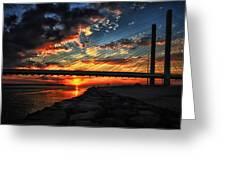 Sunset Bridge At Indian River Inlet Greeting Card
