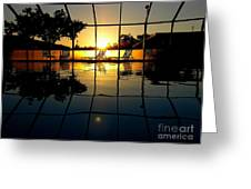 Sunset By The Pool Greeting Card