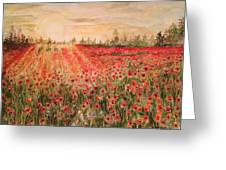 Sunset By The Poppy Fields Greeting Card