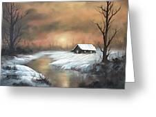 Sunset Cabin  Greeting Card
