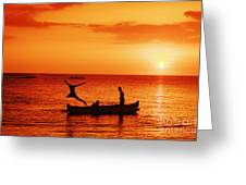 Sunset Canoe Jump Greeting Card
