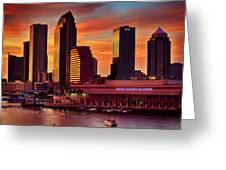 Sunset City Downtown By The River Greeting Card