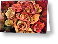 Sunset Colored Roses Greeting Card