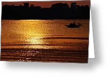 Sunset Country Boat Heading Towards Golden Rays Greeting Card