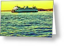 Sunset Cruise On The Ferry Greeting Card