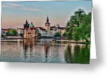 Sunset Cruise Prague Greeting Card