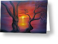 Sunset Dance Fantasy Oil Painting Greeting Card
