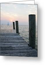 Sunset Dockside Greeting Card