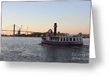 Sunset Ferry In Savannah Greeting Card