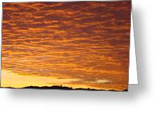 Sunset Fiery Orange Sunset Art Prints Sky Clouds Giclee Baslee Troutman Greeting Card