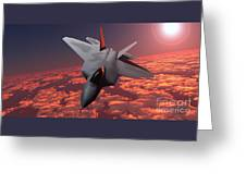 Sunset Fire F22 Fighter Jet Greeting Card