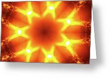 Sunset Firewheel Kaleidoscope Greeting Card