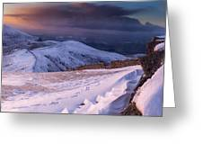 Sunset Following The Mourne Wall Greeting Card