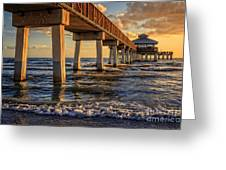 Sunset Fort Myers Beach Fishing Pier Greeting Card