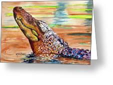 Sunset Gator Greeting Card