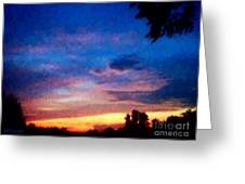 Sunset In A Deep Blue Sky Line Greeting Card