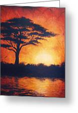 Sunset In Africa In Bright Orange Tones With A Tree Silhouette Beautiful Colorful Painting Greeting Card