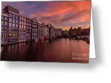 Sunset In Amsterdam Greeting Card