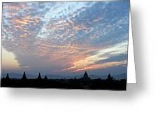Sunset In Bagan Greeting Card
