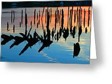 Sunset In Colonial Beach Virginia Greeting Card
