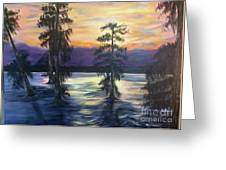 Sunset In Cypress Grove Greeting Card