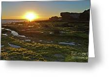 Sunset In Gale Beach. Albufeira, Portugal Greeting Card