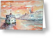 Sunset In Istanbul... Greeting Card