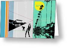 Sunset In La Greeting Card by Naxart Studio