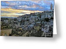 Sunset In Matera.italy Greeting Card