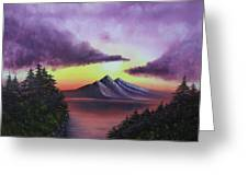 Sunset In Mountains Original Oil Painting Greeting Card