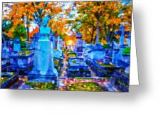 Sunset In Pere Lachaise Abstraction Greeting Card