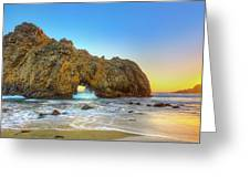 Sunset In Pfeiffer Beach Greeting Card