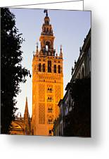 Sunset In Seville - A View Of The Giralda Greeting Card