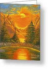 Sunset In The Canyon 1 Greeting Card