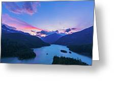 Sunset In The Diablo Lake, Wa Greeting Card
