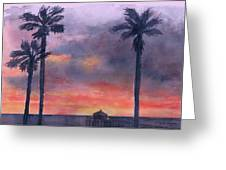 Sunset In The Tropics Greeting Card