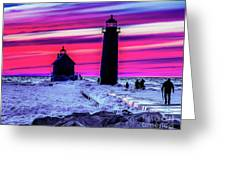 Sunset In Winter At Grand Haven Lighthouse Greeting Card