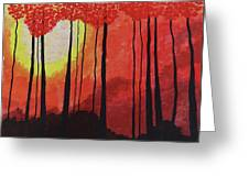 Sunset Into The Forest Greeting Card