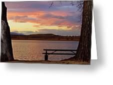 Sunset Lake Picnic Table View  Greeting Card