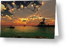 Sunset Lighthouse Greeting Card by Jim Coe