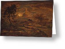 Sunset Near Arbonne , Theodore Rousseau Greeting Card