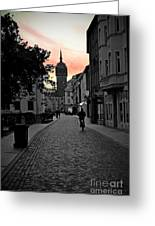 Sunset Of Castle Church Greeting Card