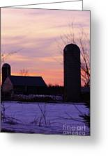 Sunset On A Dairy Farm Greeting Card