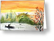 Sunset On A Lake Greeting Card