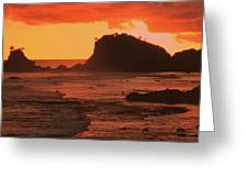 Sunset On A Rocky Coast Greeting Card