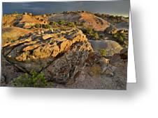 Sunset On Boulders Of Bentonite Site On Little Park Road Greeting Card